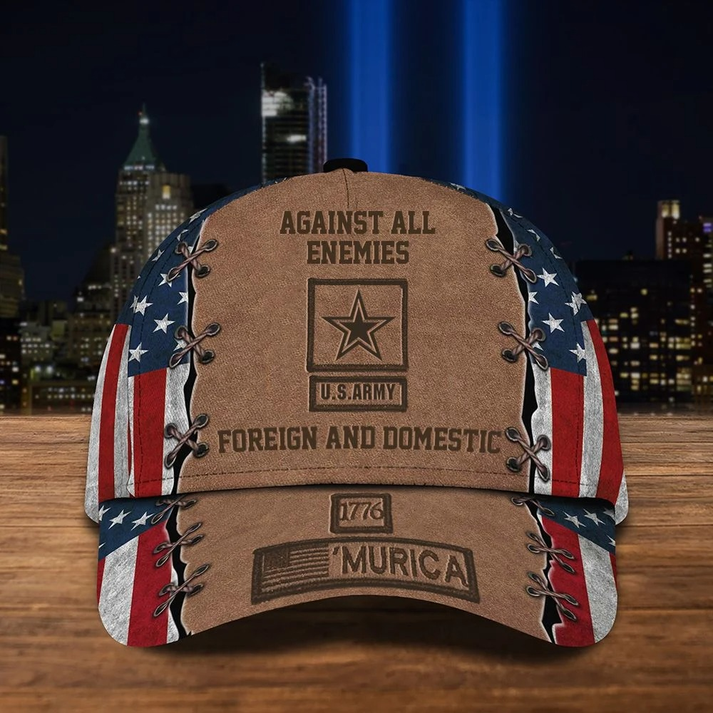 Against All Enemies US Army Foreign And Domestic 1776 Murica Cap Hat 5